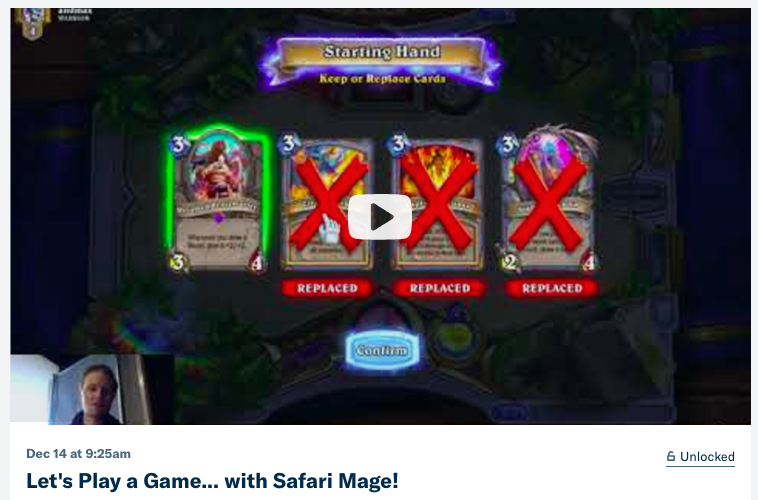let s play a game with safari mage the happy hearthstone