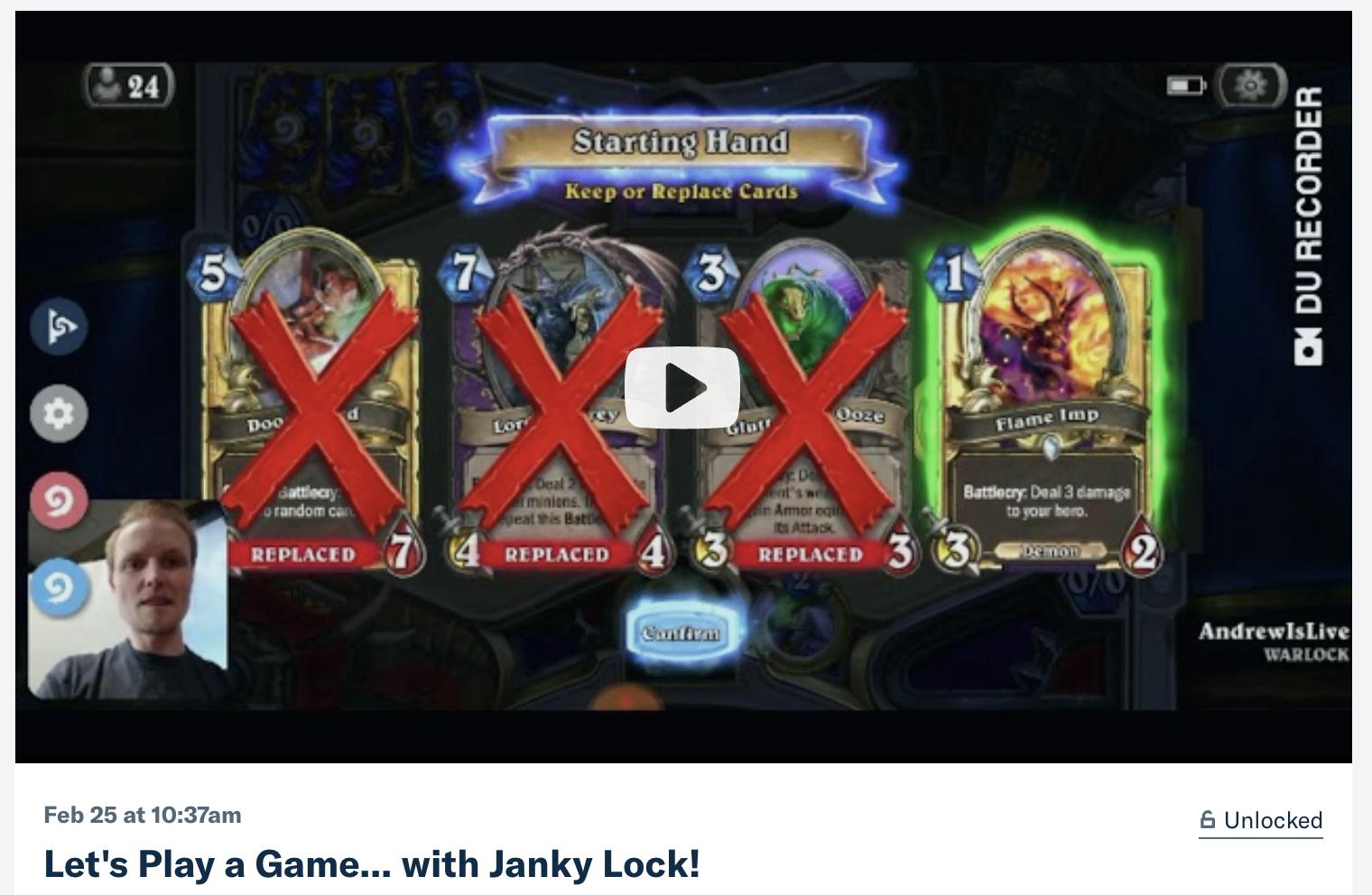 hearthstone warlock unique deck